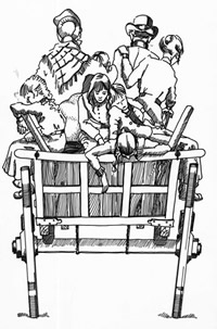 Drawing of family on horse drawn cart on their way to market.