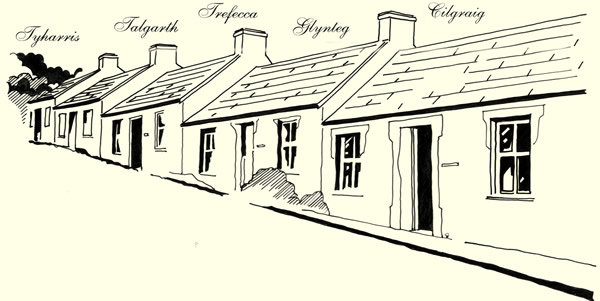 drawing of a row of cottages in Drefelin