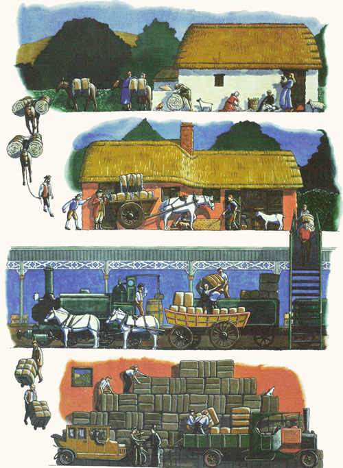 painting of different forms of transporting wool over time - from donkey's to trains to lorries