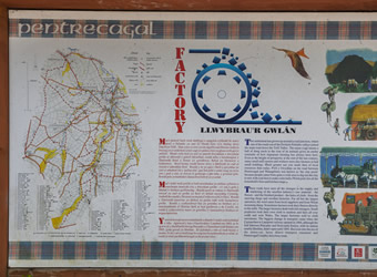 Photograph of the information board at Pentrecagal