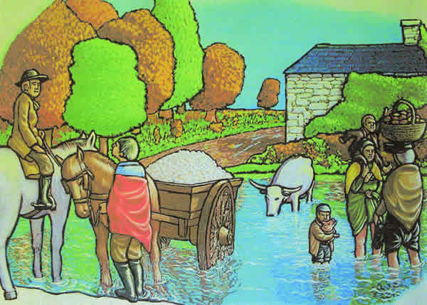 drawing of people fording the river